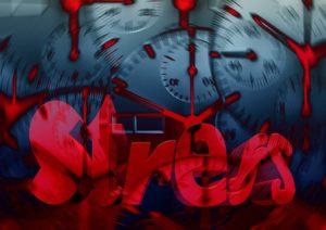 Begriff Stess in rot hebt sich von Uhren im Hintergrund ab