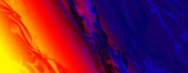 Abstraktes Farbspiel von gelb über orange, rot, violett, blau