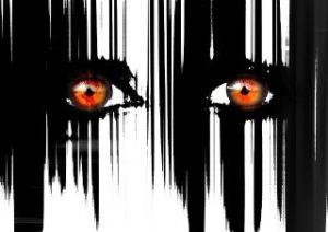 Verlaufende schwarz-weiße Striche unterschiedlicher Stärke. Da hinein ist ein Augenpaar gezeichnet, bei dem die Pupillen rot und weit geöffnet sind