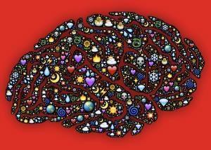 Darstellung eines Gehirns mit verschiedenen kleinen Bildchen wie Herzen, Tränen, Sonnen als Symbol für deine persönliche Weiterentwicklung durch den Yager Code